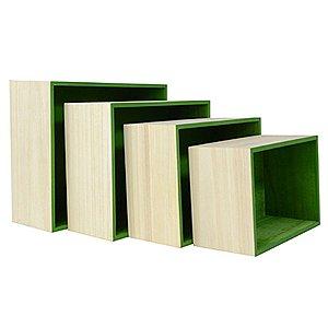 Kit de Suporte Quadrado Verde para Decoração - 4 peças