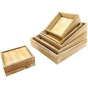 Kit de Suporte Quadrado em Madeira para Decoração - 6 peças
