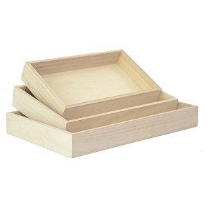 Kit de Suporte Retangular Natural para Decoração - 3 peças