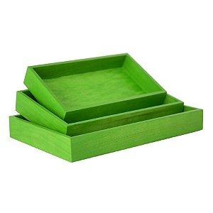 Kit de Suporte Retangular Verde para Decoração - 3 peças