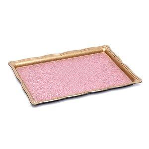 Bandeja Decorativa Retangular Pequena Glitter Rosa Pastel 24X16X3  - 2 Unidades