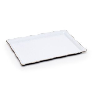 Bandeja Decorativa Retangular Pequeno Branco 27X19X3  - 2 Unidades