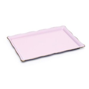 Bandeja Decorativa Retangular Pequeno Rosa Pastel 27X19X3  - 2 Unidades
