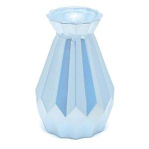 Vaso Decorativo Facetado Azul Perolado 9X9X15  - 2 Unidades