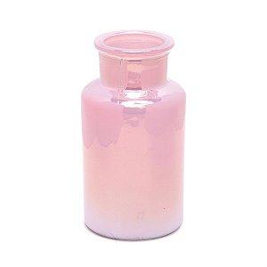 Vaso Decorativo Liso Rosa Perolado 6,5X6,5X12  - 2 Unidades