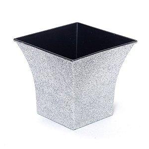 Vaso Decorativo Quadrado Prata 12X7,5X11  - 2 Unidades