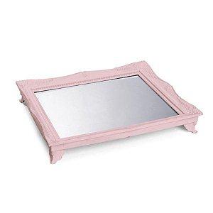 x Bandeja com Espelho Rosa Claro 29,5x24,5x4,5 - 2 Unidades