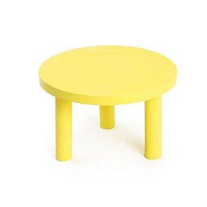 Banquinho de Madeira Amarelo Médio 22x22x13 - 2 Unidades
