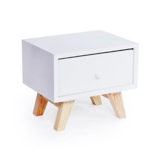 Criado Caixa com 1 Gaveta Branca 20x15,5x16,5 - 2 Unidades