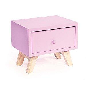 Criado Caixa com 1 Gaveta Rosa 20x15,5x16,5 - 2 Unidades