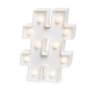 Luminoso # com Led Branco - 2 Unidades