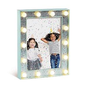 Porta Retrato com Led Azul Claro Médio 17x3x22 - 2 Unidades