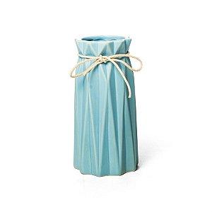 Vaso de Cerâmica Decorativo Sutileza Azul 9x9x18 - 2 Unidades