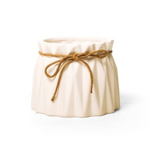 Vaso de Cerâmica Decorativo Sutileza Branca 13x13x10 - 2 Unidades