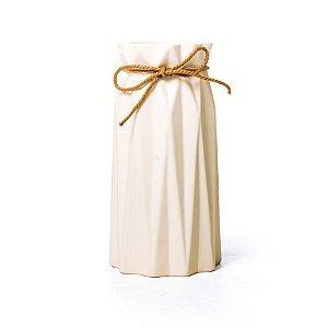 Vaso de Cerâmica Decorativo Sutileza Branca 9x9x18 - 2 Unidades