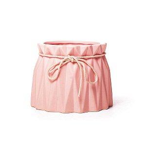 Vaso de Cerâmica Decorativo Sutileza Rosa 13x13x10 - 2 Unidades