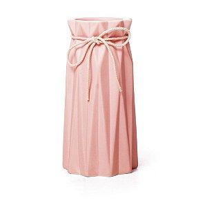 Vaso de Cerâmica Decorativo Sutileza Rosa 9x9x18 - 2 Unidades