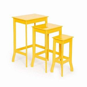 Conjunto de Mesas Quadradas Amarelo - 1 Unidade