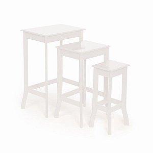 Conjunto de Mesas Quadradas Branco - 1 Unidade