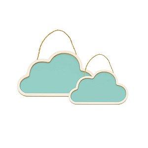 Conjunto Nuvens de Madeira Azul - 1 Unidade