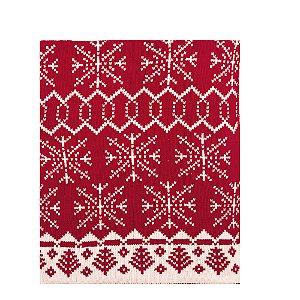 Manta Tricotada Flocos de Neve Vermelho e Branco (Cusco) - 1 Unidade