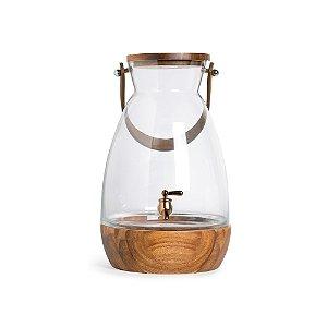 Suqueira de Vidro com Alça C Ouro Incolor e Marrom 7900ml - 1 Unidade