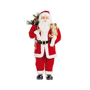 Noel em Pé Segurando Presente Vermelho 90cm (Noéis) - 1 Unidade