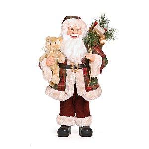 Noel Xadrez Segurando Urso Vermelho 60cm (Noéis) - 1 Unidade