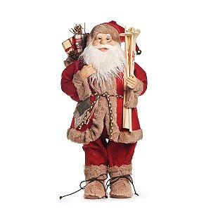 Noel em Pé com Casaco Vermelho e Bege 60cm (Noéis) - 1 Unidade