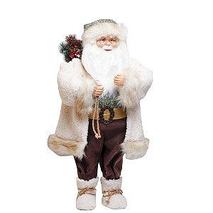 Noel em Pé com Saco de Presente Marrom e Branco e Verde G - 1 Unidade