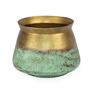 Vaso de Ferro Borda Larga Verde Dourado