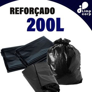 Saco para Lixo - 200 Litros - Reforçado - 100 unidades