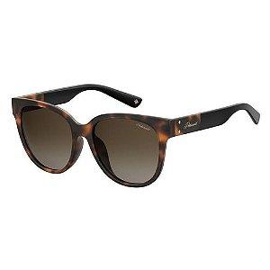Óculos Solar Polaroid Feminino PLD 4071/F/S/X 088LA Marrom Tartaruga Lentes Polarizadas