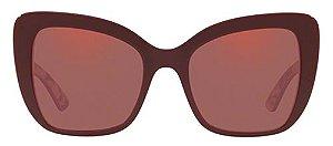 Solar Dolce&Gabanna DG 4348 3202 Vinho com estampa florida por dentro e lentes rosé