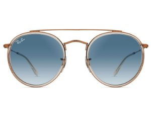 Solar Ray Ban Double Bridge RB3647N 90683F51 Metal rosé com lente azul degradê