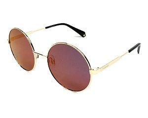 Óculos Solar Polaroid PLD 4052/S J5GAI Dourados com Lente Espelhada Roxa