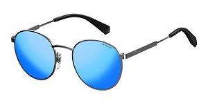 Solar Polaroid PLD 2053/S 6LB5X Metal cinza com lente espelhada azul