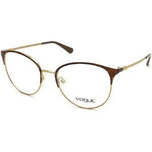 Óculos Feminino Vogue VO 4108 5078 Metal Dourado com Detalhe Tartaruga