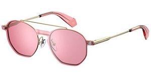 Óculos Feminino com Clip On Polaroid PLD 6083/G/CS 35/99 Dourado com Rosa