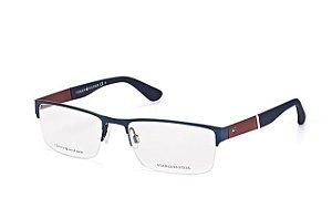 Óculos Masculino Tommy Hilfiger th 1524 pjp Metal com nylon azul e marrom