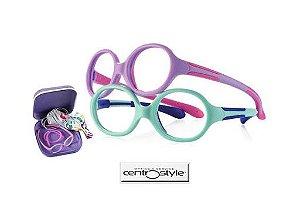 Óculos Infantil Dobrável Centro Style Azul Claro/Roxo Claro com Rosa