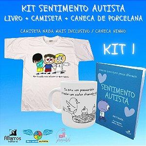 Kit Sentimento Autista: Camiseta + caneca de porcelana + livro