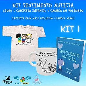 Kit Sentimento Autista: Camiseta Infanto Juvenil + Caneca de Polímero + Livro