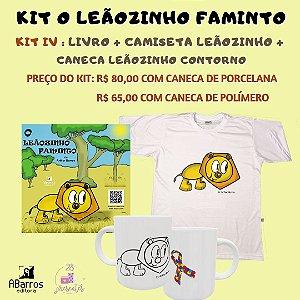 Kit Livro O Leãozinho Faminto - Livro + Camiseta Infanto Juvenil Leãozinho + Caneca Leãozinho Contorno