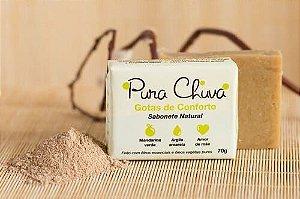 Sabonete Natural Gotas de Conforto 70 g - Pura chuva - Com Óleo essencial de Mandarina Verde e Argila Amarela