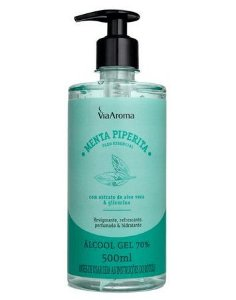 Álcool Gel 70% Via Aroma - Perfumado com Óleo Essencial de Menta Piperita - 500 mL