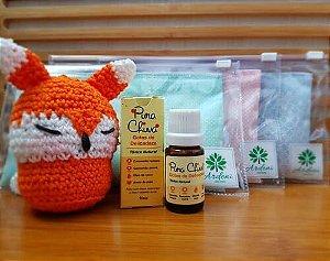 Kit Criança III - 1 (Uma) almofada térmica -  Ardeni aromas - 1 (Um) Tônico Natural Gotas de delicadeza 10 mL - Pura Chuva - 1 (Um) Amigurumi de Raposinha - Niica Arte Infantil