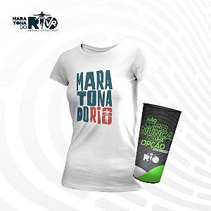 Kit Feminino Camiseta Branca e Copo Desafio Cinemaratona