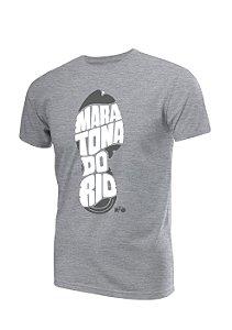 Camiseta Algodão Mescla Pegada Maratona do Rio Masculina