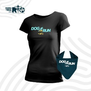 Kit Desafio Dog Run Camiseta e Bandana pet Feminino